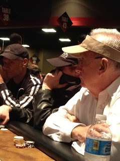 See that guy? Hiding under his collar? Pretty sure he was on his 14th Rebuy in a $125 tourney...and didn't want anyone recognizing him...either that or he was just hiding his horrendous teeth. Yes...they WERE horrendous!!!