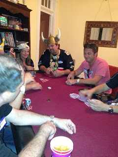 The Viking hat did NO MAGIC for Senor Monkey. Seated on my left was long time poker pal from New Orleans Barth Melius...the now infamous poster of the Doc Sands Chip Dumping WSOP 2013 Scandal on 2+2!